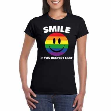 Smile if you respect lgbt emoticon shirt zwart dames carnavalskleding