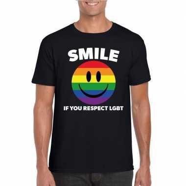 Smile if you respect lgbt emoticon shirt zwart heren carnavalskleding