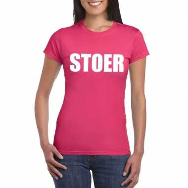 Stoer tekst t shirt roze dames carnavalskleding valkenswaard