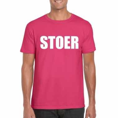 Stoer tekst t shirt roze heren carnavalskleding valkenswaard