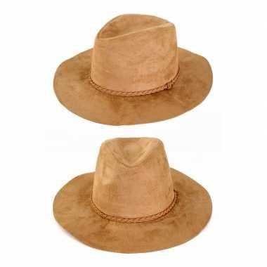 Suede cowboyhoed beige volwassenen carnavalskleding valkenswaard