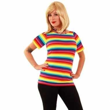T shirt regenboog strepen dames carnavalskleding valkenswaard