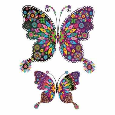 Thema kleurige vlinder tattoo stickers carnavalskleding valkenswaard
