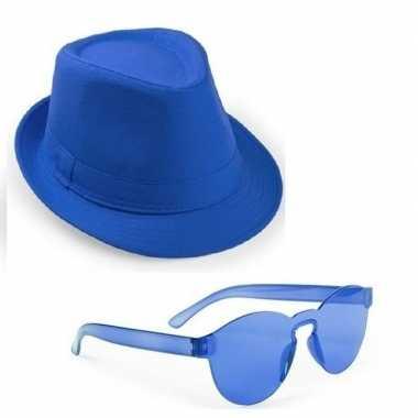 Toppers blauw trilby party hoedje blauwe zonnebril carnavalskleding v