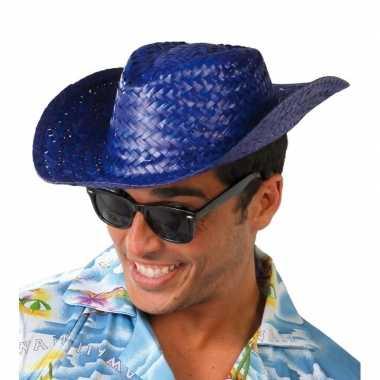 Toppers blauwe cowboy/strohoed volwassenen carnavalskleding valkenswa