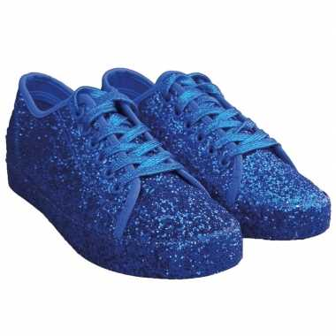 Toppers blauwe glitter disco sneakers/schoenen dames carnavalskleding