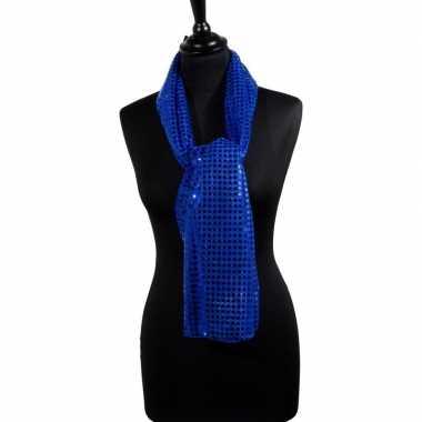 Toppers blauwe glitter pailletten disco sjaal carnavalskleding valken