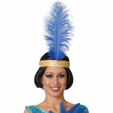 Toppers blauwe pauwenveer charleston/jaren verkleed accessoire carnav