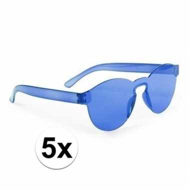 Toppers blauwe verkleed zonnebrillen volwassenen carnavalskleding val