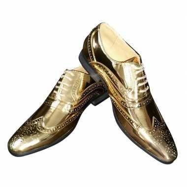 Toppers gouden glimmende brogues/disco schoenen heren carnavalskledin