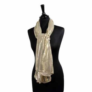 Toppers gouden glitter pailletten disco sjaal carnavalskleding valken
