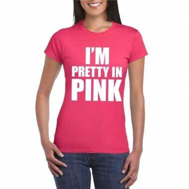 Toppers i am pretty pink shirt roze dames carnavalskleding valkenswaa