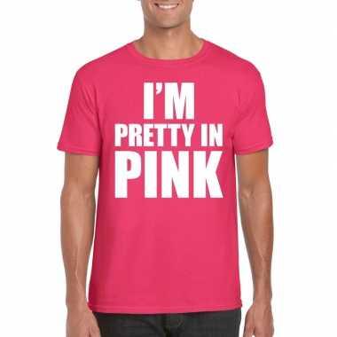 Toppers i am pretty pink shirt roze heren carnavalskleding valkenswaa