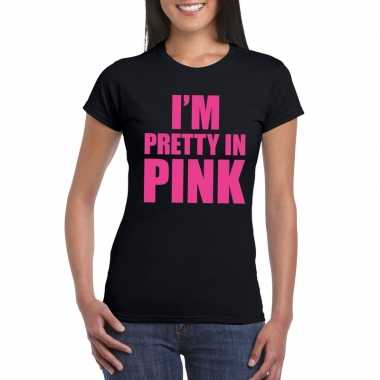 Toppers i am pretty pink shirt zwart dames carnavalskleding valkenswa