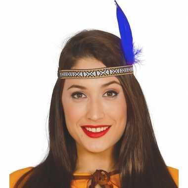 Toppers indianen verkleed hoofdband blauwe veer volwassenen carnavals