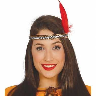 Toppers indianen verkleed hoofdband rode veer volwassenen carnavalskl