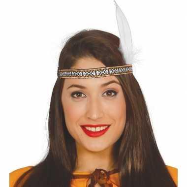 Toppers indianen verkleed hoofdband witte veer volwassenen carnavalsk