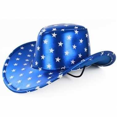 Toppers metallic blauwe cowboyhoed sterren volwassenen carnavalskledi