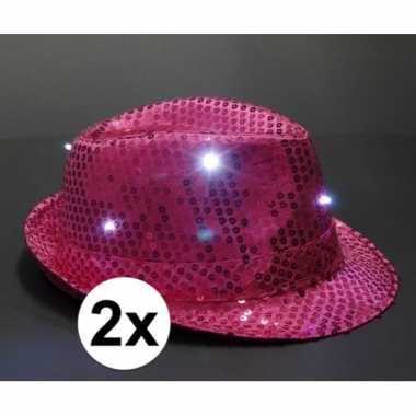 Toppers pailletten hoedjes roze led licht stuks carnavalskleding valk