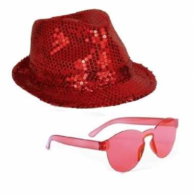 Toppers rood trilby glitter party hoedje rode zonnebril carnavalskled