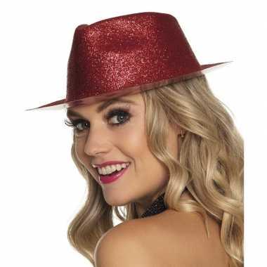 Toppers rood trilby hoedje glitters dames carnavalskleding valkenswaa