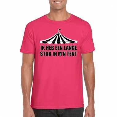 Toppers t shirt roze lange stok heren carnavalskleding valkenswaard