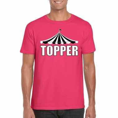 Toppers t shirt roze topper witte letters heren carnavalskleding valk