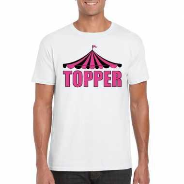 Toppers t shirt wit topper roze letters heren carnavalskleding valken