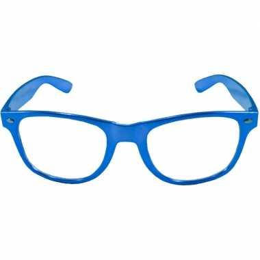 Toppers verkleed bril metallic blauw carnavalskleding valkenswaard