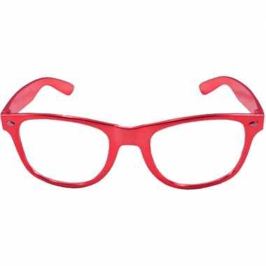 Toppers verkleed bril metallic rood carnavalskleding valkenswaard