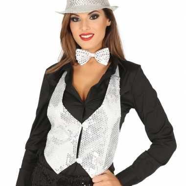 Toppers witte verkleed gilet pailletten maat / dames carnavalskleding