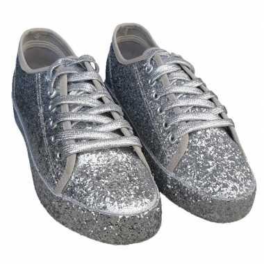 Toppers zilveren glitter disco sneakers/schoenen dames carnavalskledi