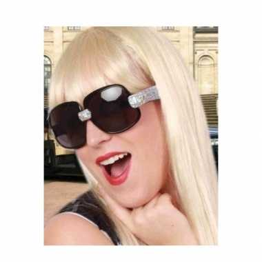 Toppers zwarte zonnebril/feestbril zilveren glitters dames carnavalsk