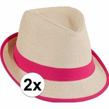 Trilby hoedjes roze toppers stuks carnavalskleding valkenswaard