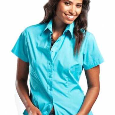 b945539f1a3 Turkoois katoenen overhemd korte mouwen dames carnavalskleding valken