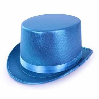 Turquoise blauwe hoge hoed metallic volwassenen carnavalskleding valk