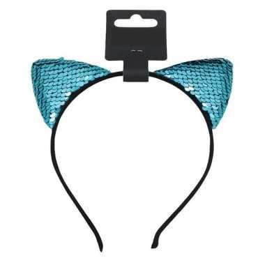 Turquoise blauwe katten/poezen oren verkleed diadeem meiden carnavals