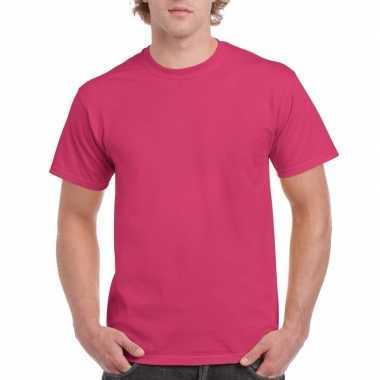 Unisex katoenen shirt fuchsia roze volwassenen carnavalskleding valke