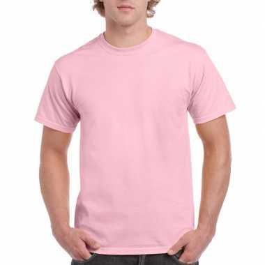 Unisex katoenen shirt lichtroze volwassenen carnavalskleding valkensw