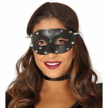 Venetiaans zwart oogmasker studs dames carnavalskleding valkenswaard