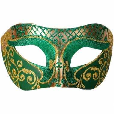 Venetiaanse maskers colombina groen/goud glitters carnavalskleding va
