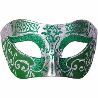Venetiaanse maskers colombina groen/zilver glitters carnavalskleding