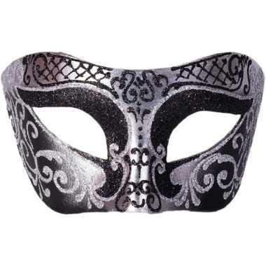 Venetiaanse maskers colombina zwart/zilver glitters carnavalskleding
