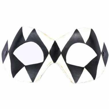 Venetiaanse maskers harlekijn zwart/wit carnavalskleding valkenswaard