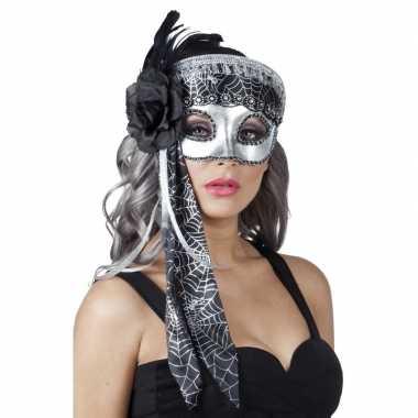 Venetiaanse maskers spinnenweb zwart/zilver glitters carnavalskleding