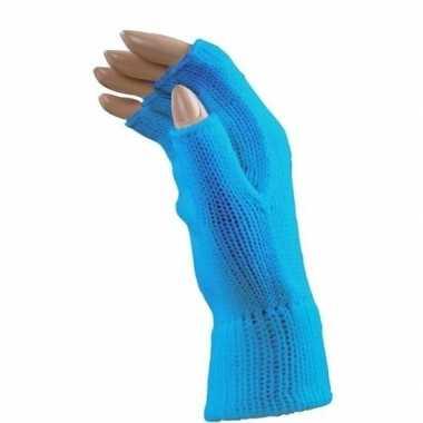 Verkleed blauwe handschoenen vingerloos volwassenen carnavalskleding