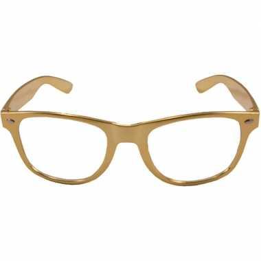 Verkleed bril metallic goud carnavalskleding valkenswaard