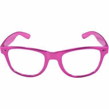 Verkleed bril metallic roze carnavalskleding valkenswaard