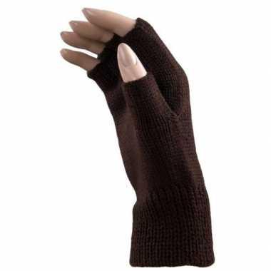 Verkleed bruine handschoenen vingerloos volwassenen carnavalskleding