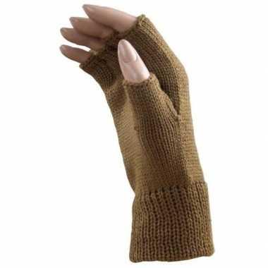 Verkleed caramel bruine handschoenen vingerloos volwassenen carnavals
